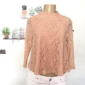 Forever 21 nude tan lace long sleeve mock neck top